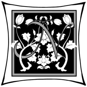 Ein N um dessen Arme Ranken geschlungen sind auf schwarzem Grund und mitgrauen graden Rahmen und darum noch ein weißer eckiger Rahmen